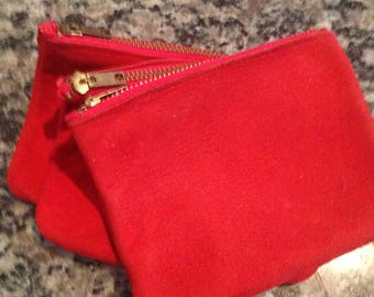 Tri-Pocket Red Suede and Leather Zippered Purse