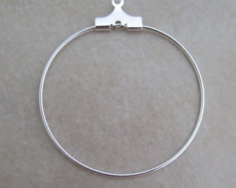 24 silver beading hoops 30mm
