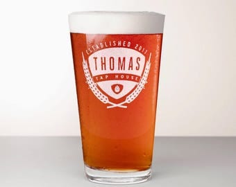 Custom Beer Glass, Engraved Pint Glass - Saaz