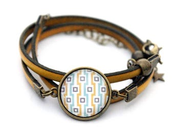 """Cabochon yellow leather bracelet adjustable three towers """"yellow and turquoise squares"""" retro vintage"""