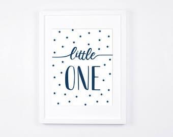 Navy Blue Nursery Decor, Little One, Stars Printable Art, Modern Nursery Wall Art, Navy Baby Room Art, Little Boys Room Decor Contemporary
