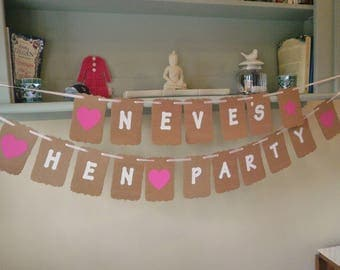 Personalised Hen Party Bunting Banner Any Name Pink Hearts, Stars