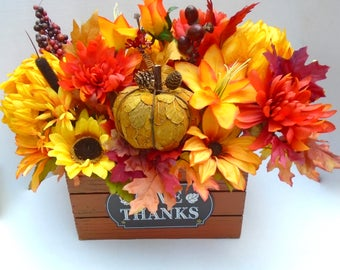 Fall Floral Centerpiece in Wooden Crate, Large Fall Table Arrangement, Fall Floral Centerpiece,Autumn Centerpiece, Fall Floral Arrangement