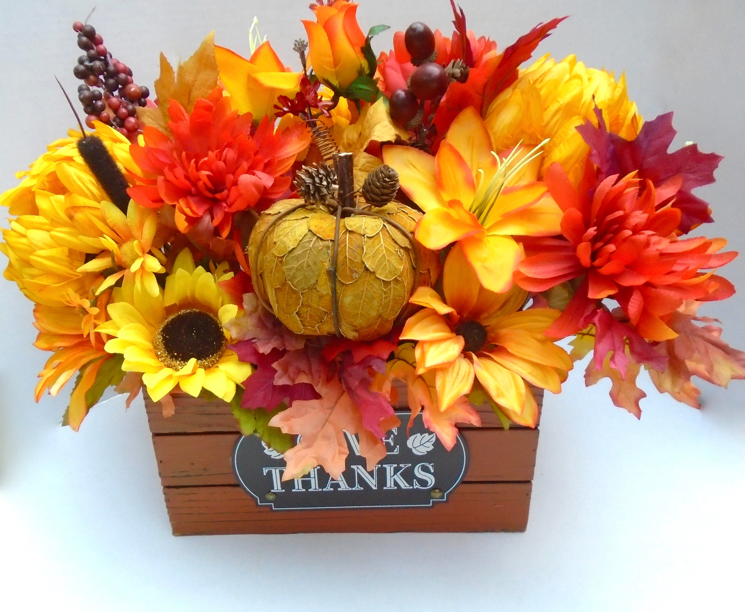 Fall floral centerpiece in wooden crate large table