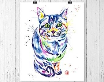 TABBY CAT PRINT, Tabby Cat painting, Tabby Cat art, Tabby Cat watercolour, cat art, cat print, cat painting, pet art, pet portrait