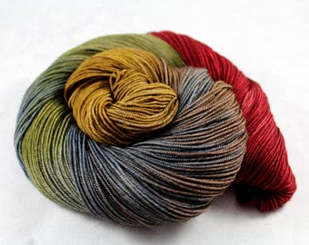 Sublunary - PREORDER - 100g  437yd Fingering Luxury Yarn 70/20/10 Sw Merino/Yak/Nylon- Earthy red, moss, brown, slate, pecan