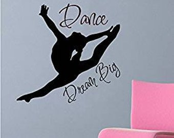 "24"" Dance Silhoute Dream Big Wall Decal Sticker Art Mural Home Décor Quote Girl Squad Team Ballet Jazz Tap Gymnastics"