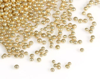 25g Glass Gold Colour Microbeads.  0.7mm. Great for nail art, card making, pottery and numerous other crafts.