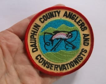 Vintage Dauphin County Anglers and Conservationists Badge Patch, Fishing Harrisburg PA Patch Badge Fish patch