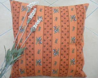 FREE shipping - Provence this cushion cover, orange olive patterns & cicada