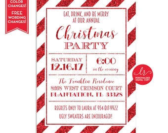 Christmas Party Invitation - Holiday Party Invite - Holiday Card - Glitter - Candy Cane Invite - Birthday Invite - Printable