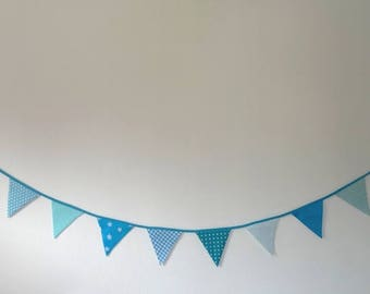 Fabric - turquoise blue Bunting