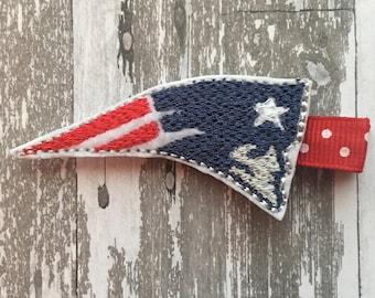 New England Patriots Clip - Patriots Headband - Patriots Bow - New England Bow- Patriots Felt Clip