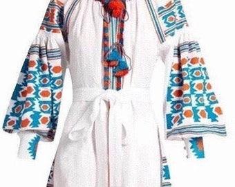Cotton embroidered dress, vestidos, long sleeve dress, loose lantern sleeve, vintage dress, boho dress, Mexican dress, S, M, L, XL, white