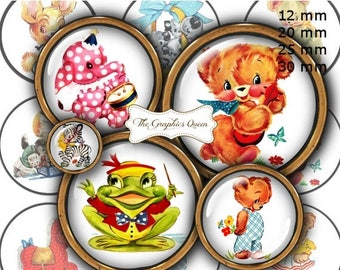 """80 % off Summer Sale 12 mm, 20mm, 25 mm, 30 mm, 1 inch Cute Animals Digital Images for Bottle Caps 1"""" Button Circles Digital Collage Sheet"""