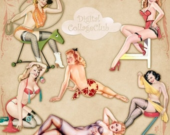 80 % off Graphics SaLe Vintage Pin Up Girls Clipart Clip Art Images for Scrapbooking, Decoupage, Card Making. Digital Collage Sheet Instant