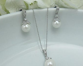 SALE Ends Monday Pearl jewelry set, CZ Pearl Wedding Necklace Set, bridal jewelry, wedding jewelry, cz jewelry set, pearl jewelry set 208840