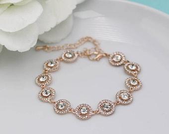 Rhinestone Bridal bracelet Rose Gold, wedding bracelet, rhinestone crystal bracelet, crystal bracelet, bridal jewelry 534381193