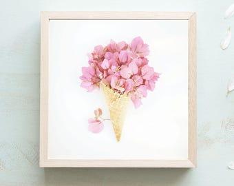 Icecream Cone Print - 50s Kitchen, Vintage Art Print, Pink Wall Art, Boho Prints, Flower Still Life, Vintage Kitchen, Flower Photography