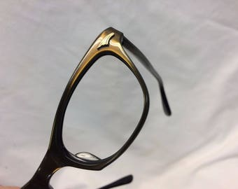 Vintage Eyeglasses Frames New Old Stock Frame France Brown/Black Cat Eye Classic K15