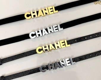 Custom Name Choker & Bracelet Set, Velvet Choker, Faux Leather Bracelet, Name Choker, Letters Choker, Non-tarnish, Designer Inspired Choker