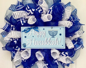 Happy Hanukkah Wreath with Menorah and Dreidel Handmade Deco Mesh