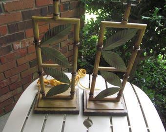 Faux Bamboo - Table Lamps - pair of Bamboo Lamps - Metal Lamps