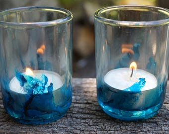 Two Hand Painted Glass Candle Holders, Blue Candleholders, Blue Votive Holders, Blue Tealight Holders, Hand Painted Candleholders