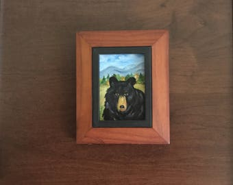 Bear, Black bear, Miniature art, Oil oainting, Appalachian Mts., Smoky Mts., Blue Ridge Mts., Framed