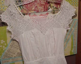 Antique Cotton Slip Dress with Crochet Top & Trim, Victorian Clothing