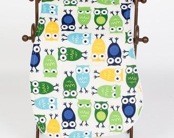 Blue, Green, Yellow Owl Burp Cloth
