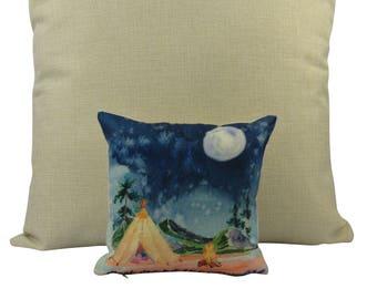 MINI: Adventure Time | Pillow Cover | Wanderlust | Throw Pillow | By the Campfire | Pillow | Home Decor | 8 x 8 Pillow | Adventure Awaits