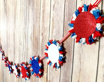 Red, White, & Blue Patriotic Rosette Garland - Independence Day, Labor Day, Memorial Day, 4th of July