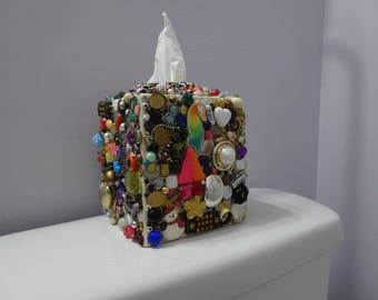 Unique handmade square tissue box holder collaged with jewelry pieces