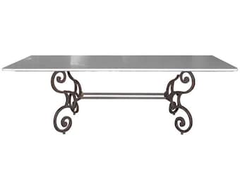 Italian Carrara Marble-Top Dining Table with Scrolled Iron Base