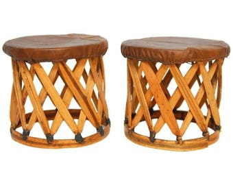 Pair of Mexican Equipale Style Drink Table Stools