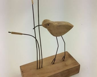 Single Bird In Reeds, Rustic Decor, Nautical, Coastal Decoration.