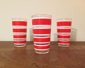 Three Hazel Atlas Red & White Stripe High Ball Glasses /Tumblers