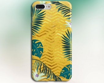 Gold Glitter Chevron x Tropical Forest Phone Case, iPhone X, iPhone 8 Plus, Rubber iPhone Case, Galaxy s8, Google Pixel 2, Summer Outdoors