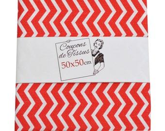 "Cut of fabric 100% cotton ""Tezi red"" 50cm X 50 cm"