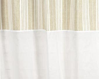 "150 X 250 ""white stripes"" with sheer + lace curtain"