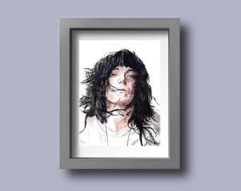Patti Smith watercolor portrait PRINT