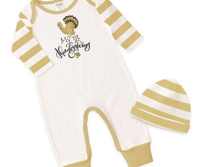 SALE! Newborn First Thanksgiving Romper Ivory and Yellow Stripes, Baby Boy and Girl Thanksgiving Bodysuit, Turkey, Tesababe RP810IYIM006C
