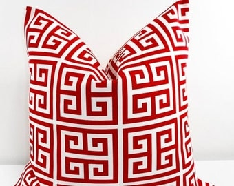 SALE RED  Pillow. Red Outdoor Indoor Pillow cover. Greek Key  Red and White. Stain dirt resistant. Cushion Cover. Select your size