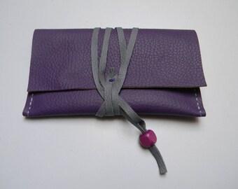 Purple Leather lace closure Pocket