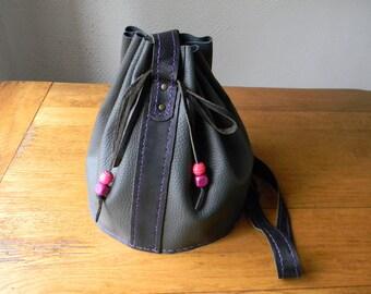 Handmade grey leather shoulder bag