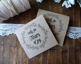 20 Tears of Joy Tissue Packs, Wedding Tissues, for tears of joy, happy Tears Packs,Floral wreath Design,Customized tissue packs