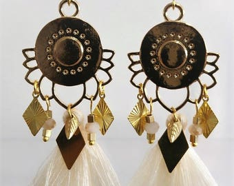 Lotus wedding Bohemian tassel earrings