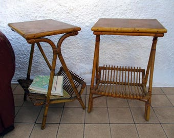 Bamboo Tables, Pair Of Vintage Bamboo Tables, French Tables, Magazine  Racks, Antique