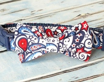 SALE, Size Small 3/4  Collar and Small bow tie Patriotic Paisley Dog Collar Bow Tie set, pet bow tie, collar bow tie, wedding bow tie